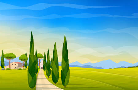 Italian landscape. Wide panorama rural countryside in spring or summer. Meadows, mountains and houses. Vector illustration