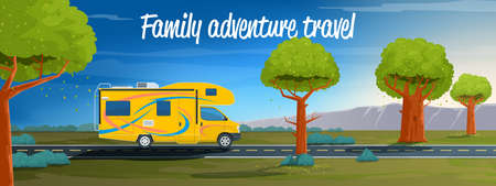 Family adventure travel banner. Car rides on a summer road. Realistic vector illustration