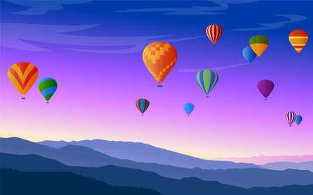 Hot air balloons festival vector illustration