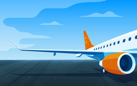 Airliner on a airfield vector illustration