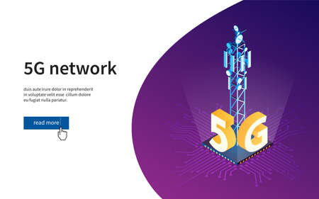 Antenna for wireless network. 5G network wireless technology. Broadcasting tower for high speed internet communication. Isometric vector illustration