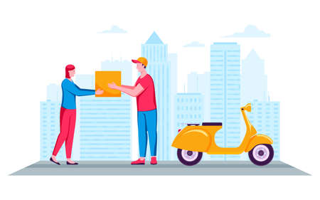 Woman receiving parcel from delivery man on a city background. Fast delivery package. Side view of young man and woman. Cartoon vector illustration Archivio Fotografico - 149592639