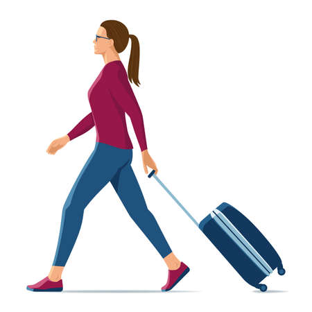 walking woman with suitcase on white background.