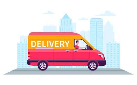 Delivery car on a city background. Fast delivery package. Side view of moving van. Cartoon vector illustration Archivio Fotografico - 149594835