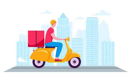 Courier rides a scooter on a city background. Fast delivery package. Side view of young man in helmet with thermo box. Cartoon vector illustration Archivio Fotografico - 149593754