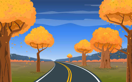 The road goes into the distance through the forest on a background of a beautiful autumn landscape. Cartoon vector illustration