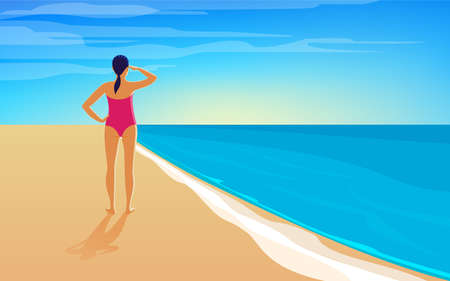 A young woman is standing on the seashore and watching the sunset. Cartoon vector illustration