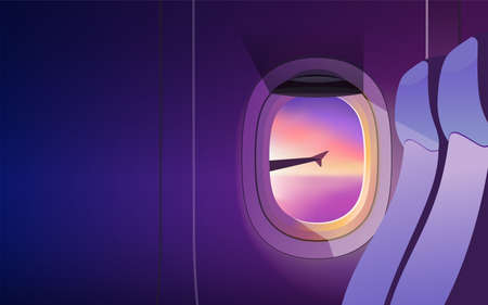 View from airplane window. Wing of an airplane flying above the clouds at sunset. Realistic vector illustration