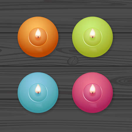 Candles set. Burning candles on wooden table. Flat lay, top view. Realistic vector illustration