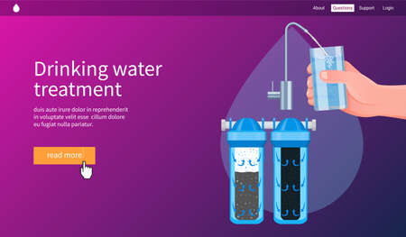 Water filtration concept. Drinking water treatment. Realistic vector illustration  イラスト・ベクター素材