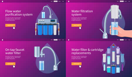 Water filtering system concepts set. Flow water purification system, filtration, on tap faucet filter, cartridge replacement. Realistic vector illustration