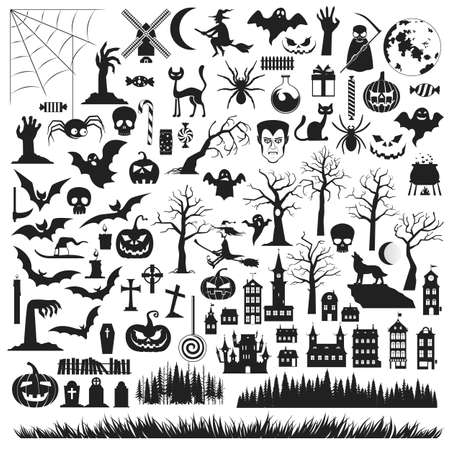 Set of Halloween silhouettes icon and characters. Black icons on a white background. Vector illustration Illustration