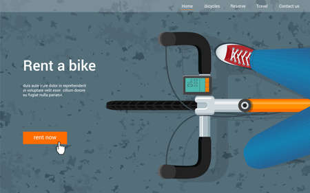Promotional banner on the theme of urban cycling. Bicycle view from above. Vector Illustration