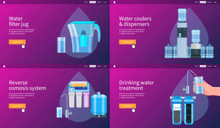 Water filtering system concepts set. Water filter jug, cooler, dispenser, reverse osmosis system, water treatment. Realistic vector illustration