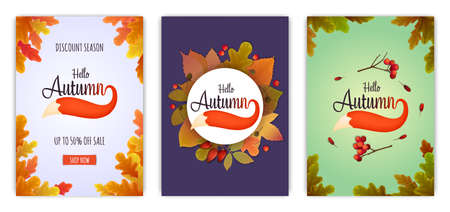 Set of autumn sale poster design template. Sale banners for fall season shopping discount promotion. Vector illustration