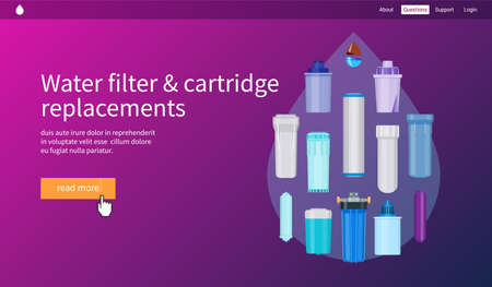 Water filtration concept. Water filter and cartridge replacements. Realistic vector illustration Illustration