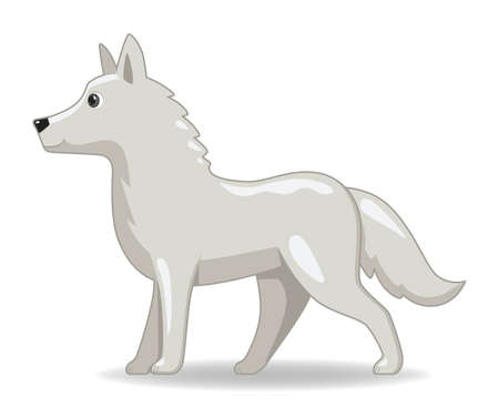Polar wolf animal standing on a white background. Cartoon style vector illustration
