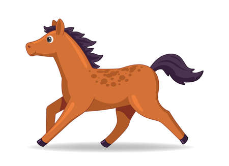Mustang horse animal standing on a white background. Cartoon style vector illustration