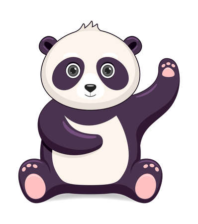 Panda bear animal standing on a white background. Cartoon style vector illustration