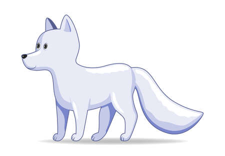 Arctic fox animal standing on a white background. Cartoon style vector illustration