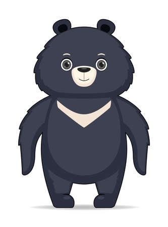 Himalayan bear animal standing on a white background. Cartoon style vector illustration