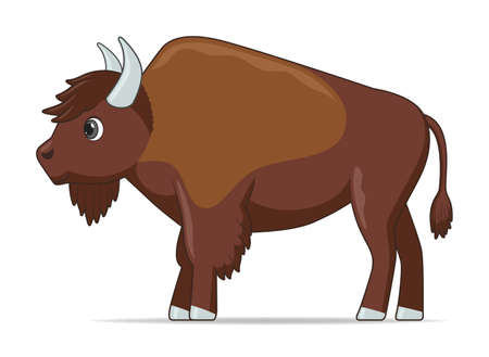 Bison animal standing on a white background. Cartoon style vector illustration