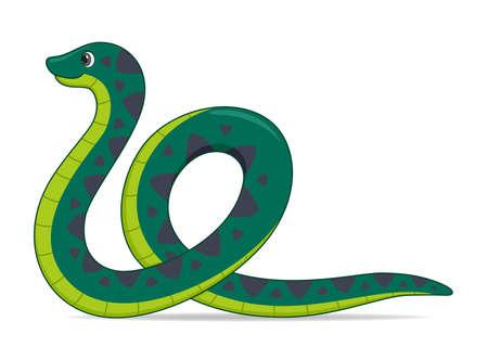 Anaconda snake on a white background. Cartoon style vector illustration