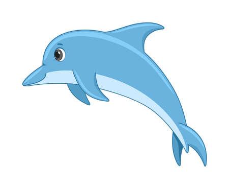 Dolphin fish on a white background. Cartoon style vector illustration Vector Illustration