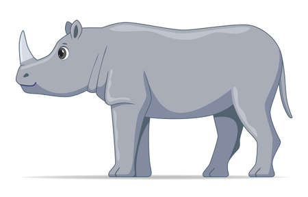 Rhinoceros animal standing on a white background. Cartoon style vector illustration