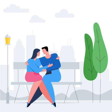 Romantic couple concept. Man and woman cuddling on a bench. Romantic date cartoon banner. Flat Illustration