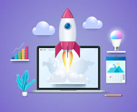 Start up project concept. Laptop with launching rocket on screen. Starting a new business project. Smart led lightbulb, graph on the shelves. Web vector illustration in 3D style