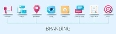 Branding banner with icons. Marketing, identity, positioning, vision, product, communication, certification, target icons. Web vector infographic in 3D style. Ilustración de vector