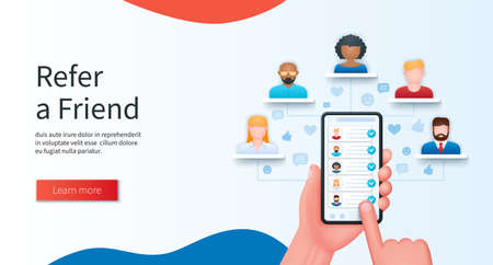 Refer a friend program concept. Hand holds a mobile phone with a list of friends on the screen. Referral program, business partnership banner. Web vector illustrations in 3D style