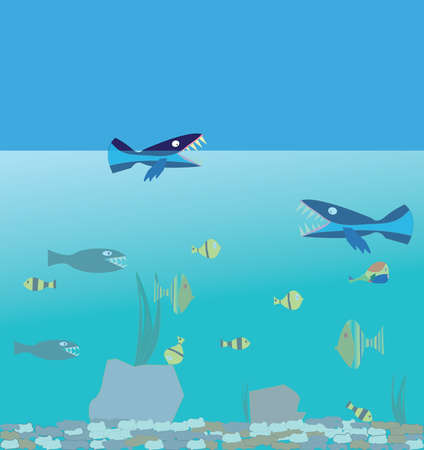 Funny fish of different shapes and colors. Fun underwater life illustration. Ocean depths full of life Ilustracje wektorowe