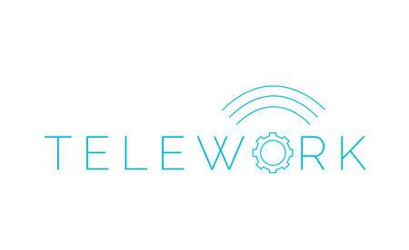 Teleworking as a measure of companies due to the coronavirus outbreak. Telework logo. Illustration