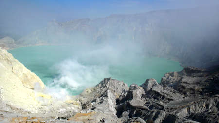 cataclysm: Sulphuric Lake in Crater of Mt Ijen (Volcano), Java. Indonesia