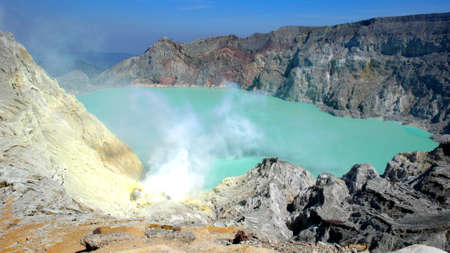 bowels: Sulphuric Lake in Crater of Mt Ijen (Volcano), Java. Indonesia