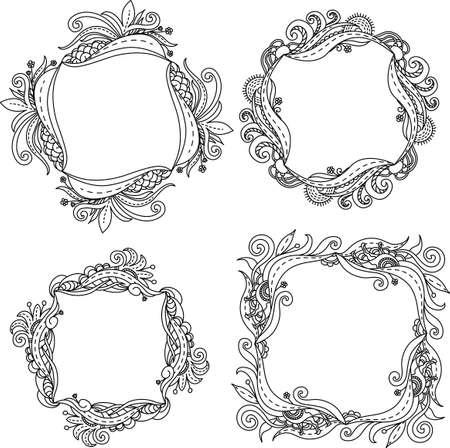 tangle: Set illustration of floral frame Zen Tangle. Dudlart. Black and white. Coloring page. Illustration