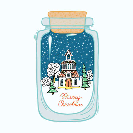 snowdome: winter landscape and snow-covered countryside in a transparent glass bottle - vector illustration can be used in the design of cards, tags, labels, invitation cards.