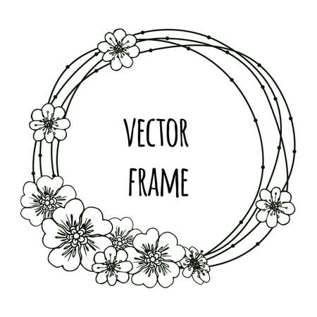Hand drawn round frames. Herbal frames-wreaths. Floral wreath with copy space for text. Wedding or invitation card design element.