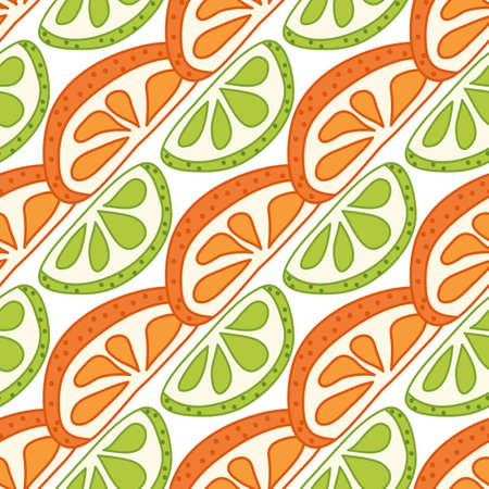 Vector seamless pattern with sliced citrus - grapefruit, lemon, lime, orange.