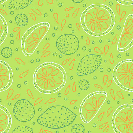 Vector seamless pattern with sliced citrus - grapefruit, lemon, lime, orange.