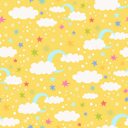 Vector seamless pattern with moon, cloud and stars on a yellow background