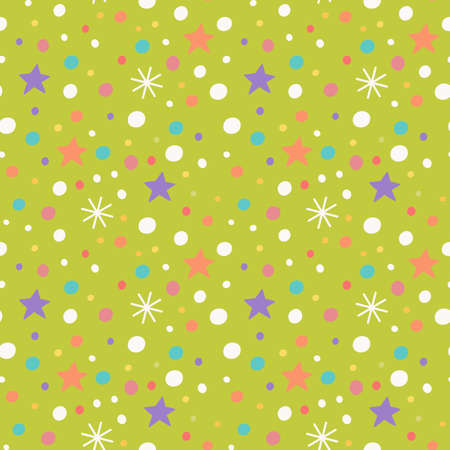 Vector seamless pattern with snowflakes, stars and confetti