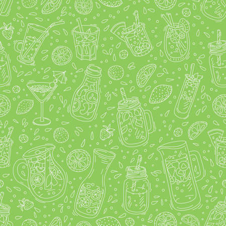 Seamless pattern with drinks - fruit infuset water, detox water for clean, tropical breakfast smoothie, strawberry, green tea lemonade, fresh fruit juices and cocktails, yogurt. Illustration