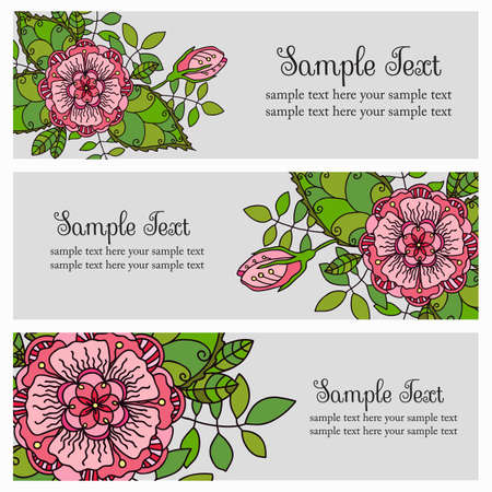 flourishing: vector set of horizontal banners with flowers