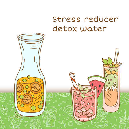 Fruit infused water easy combinations for natural detoxification. Vector illustration Illustration