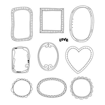 Hand drawn frames set Illustration