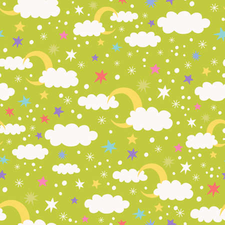 seamless pattern with clouds, stars, confetti and snow