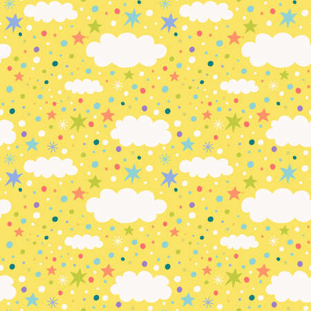 Seamless pattern with clouds, stars and confetti